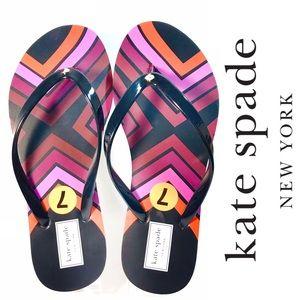 NEW kate spade | Red Purple Geo Stripe Flip Flops